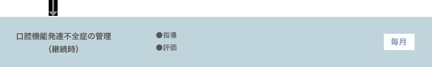 口腔機能発達不全症の管理 (継続時)●指導 ●評価 毎月